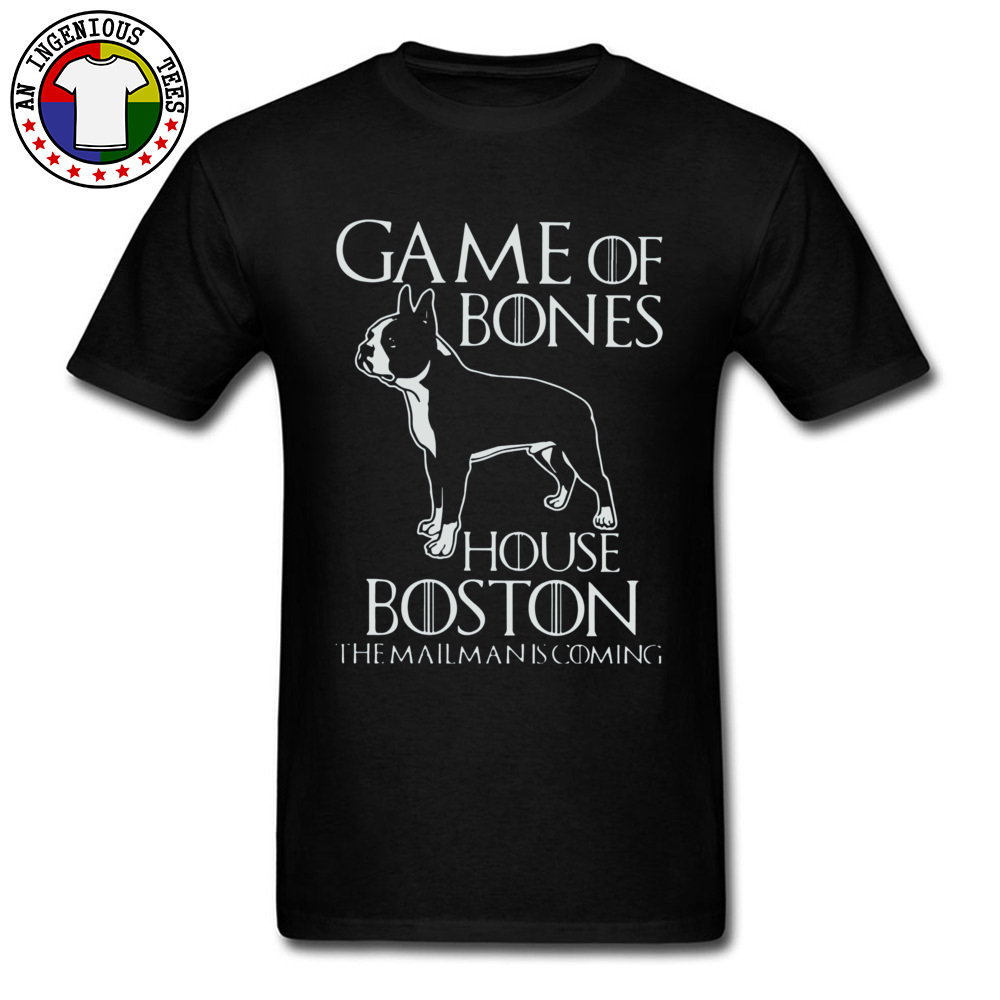 Game of bones house bosto24521 Tees Brand O Neck Slim Fit Short Sleeve 100% Cotton Fabric Mens Top T-shirts Unique Tops Tees Game of bones house bosto24521 black