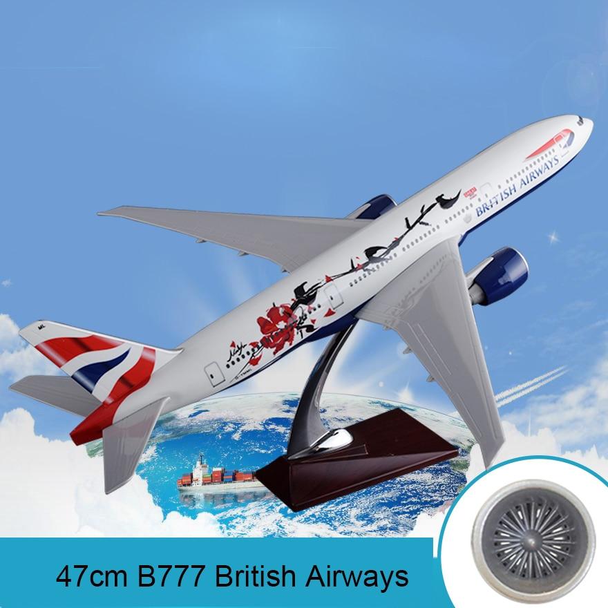 47cm modèle d'avion en résine B777 British Airways artisanat Boeing 777 angleterre modèle d'avion Airbus modèle Collection créative cadeau