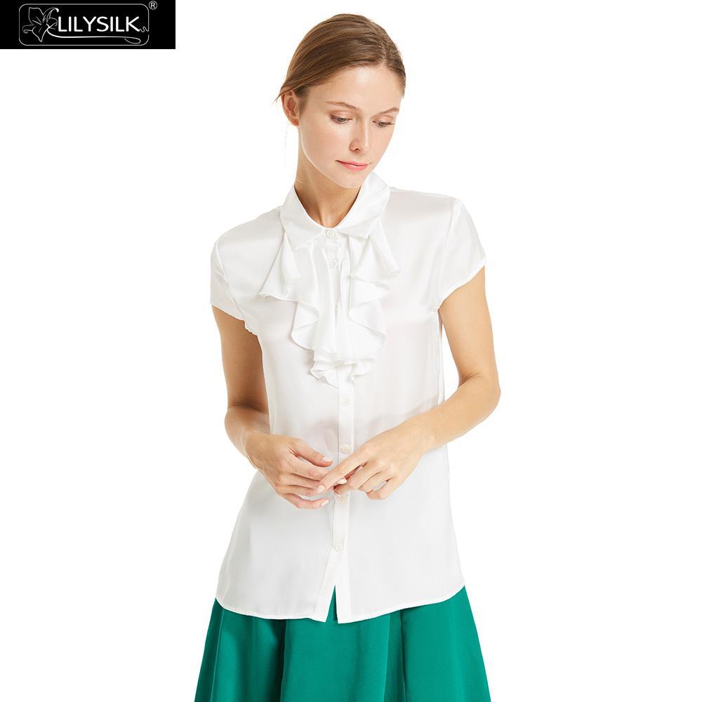 Dame Gratuite Shirt Soie Lilysilk White Femmes T Livraison Ruches Liquidation OFqWwA1