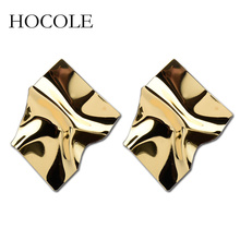 HOCOLE 2018 NEW Punk Statement Irregular Earrings Gold Silver Color Geometric Metal Stud For Women Party Jewelry Gift