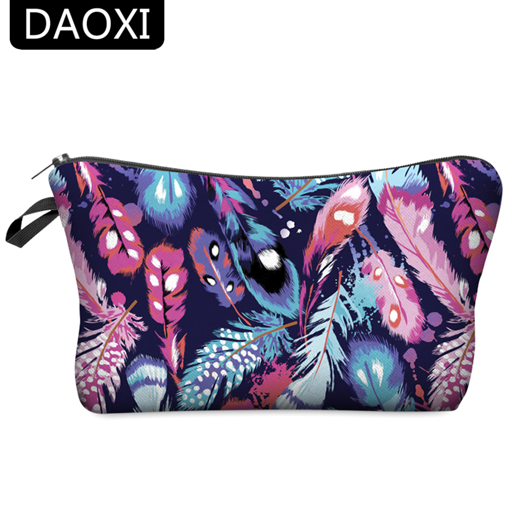 DAOXI Women Cosmetic Bags 3D Printing Colorful Feathers Fashion Storage Makeup Organizer For Travel 10021