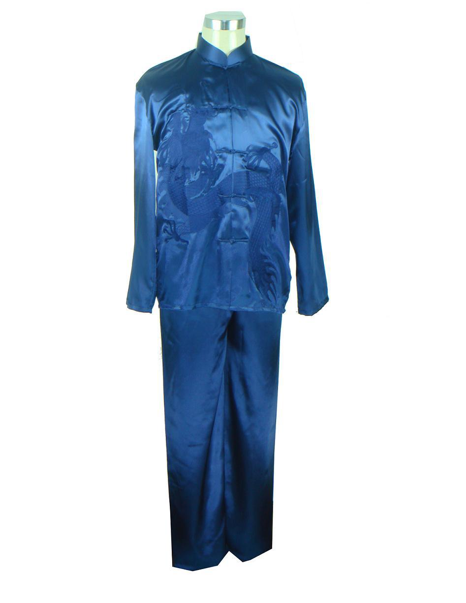 Navy Blue Men's Satin Kung Fu Suit Embroidery Shirt+Pants Sets Chinese Style Wu Shu Clothing Size S M L XL XXL M0011