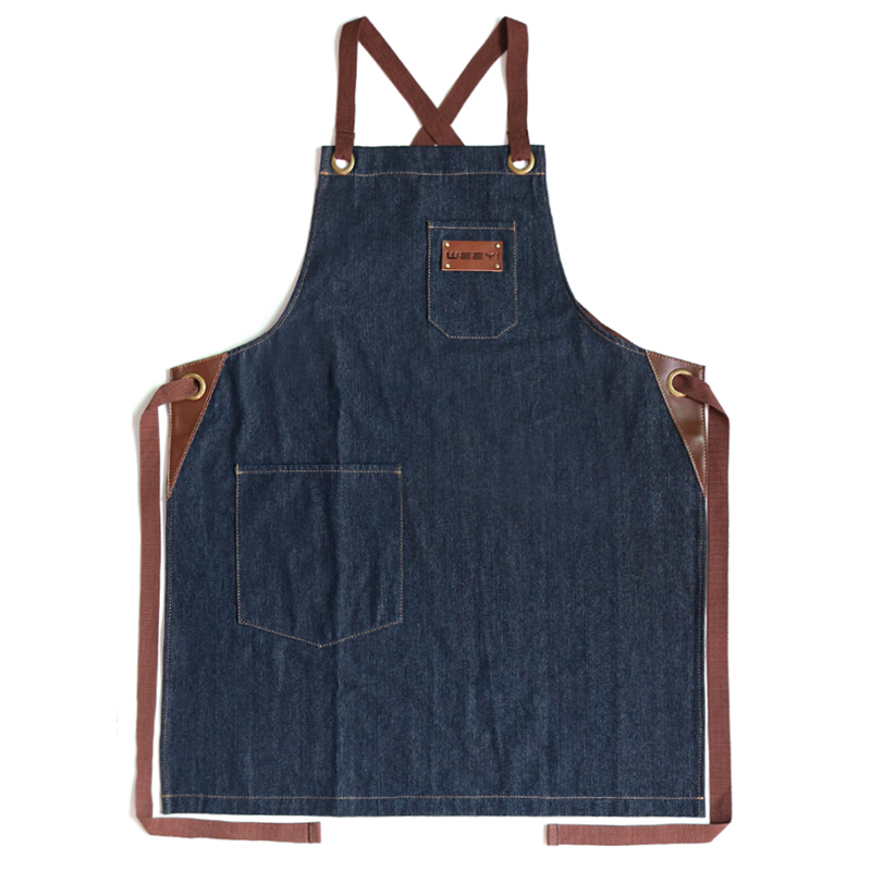 Image 5 - WEEYI Denim Kitchen Cooking Apron with Adjustable Cotton Strap Large Pockets Blue 34x27 Inches Barista Men and Women Homewear-in Aprons from Home & Garden