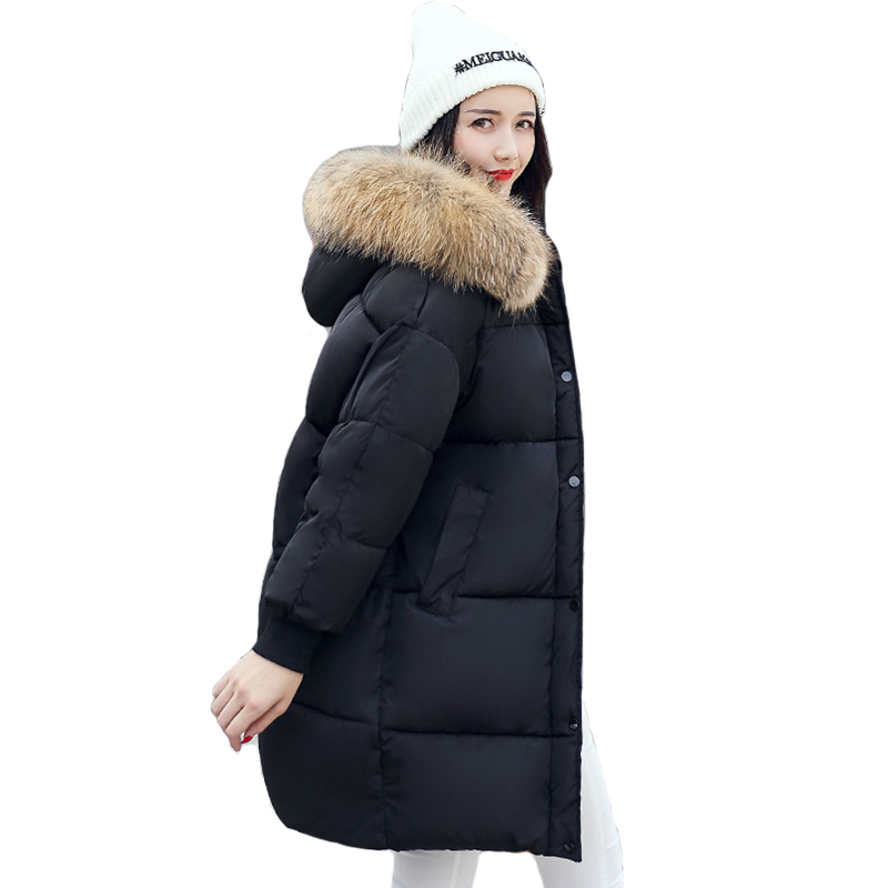 Oversize Hooded With Collar Female Coat Coats Breasted Buttons 2018 New Arrival Winter Jacket Women Warm Long   Parkas   Casaco