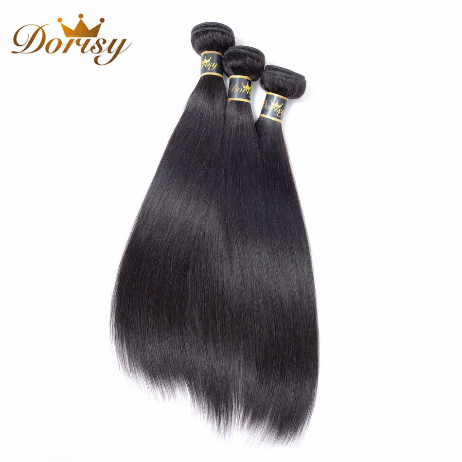 Dorisy Hair Pre-Colored 3 Bundles Brazilian Straight 100% Human Non Remy Hair Extension Natural Color 8-26 Inch Free Shipping