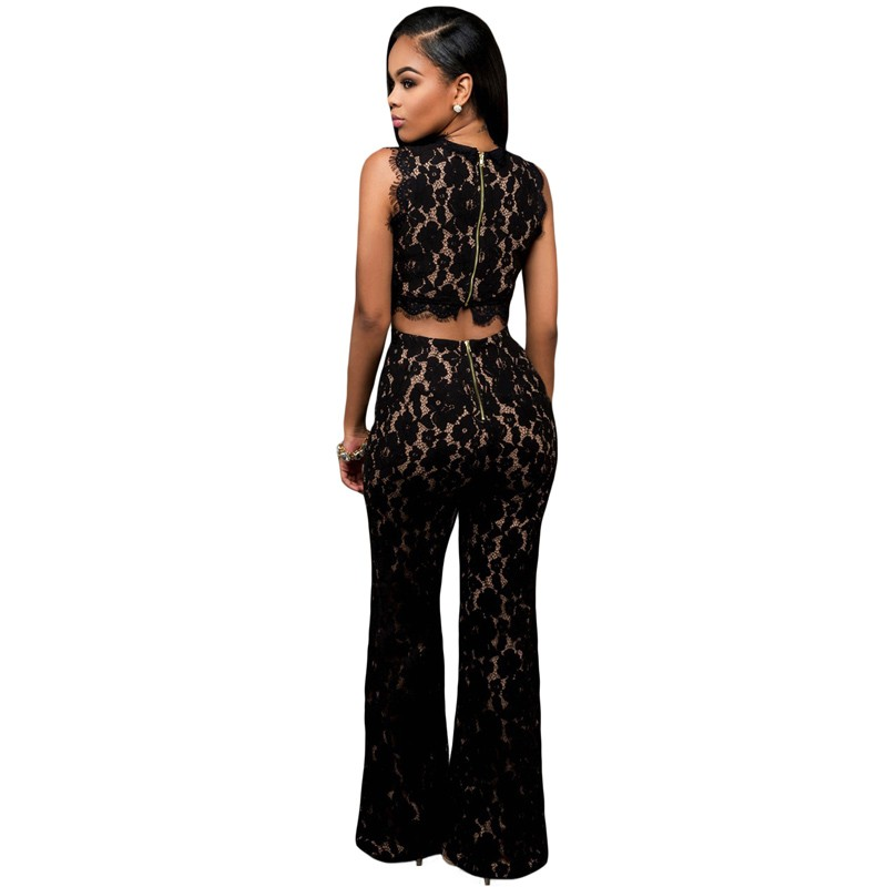 Zkess Black Lace Jumpsuit Long Pants Women Rompers Sexy Club Ladies 2017 Belted Solid Elegant Female Jumpsuits Overalls LC64117 7