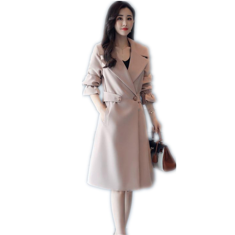 Women   Trench   Work Office Lady Elegant 2018 Spring Autumn Women Fashion Flare Sleeve Plus Size 4XL   Trench   Long Top   Trench   CQ1713