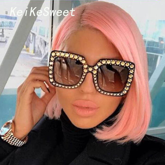 b1023dd3565 Online Shop KeiKeSweet Luxury Brand Designer Italian Big Crystal Sun Glasses  Square Shades Women Oversized Sunglasses Retro Top Rhinestone