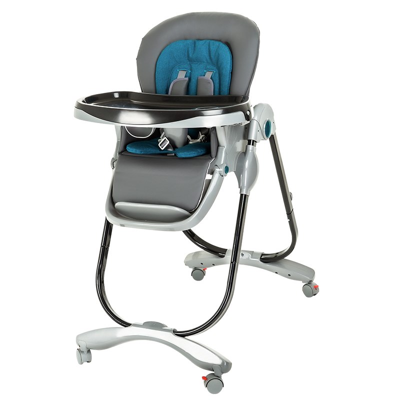 Baby Feeding Chair, Dining Chair, Folding & Movable & High Chair, Multi-functional, Portable, Adjustable Eating Chair, Stainless the silver chair
