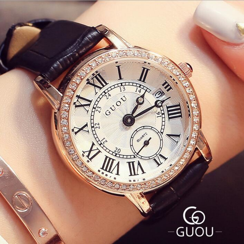GUOU Brand Roman Numerals Women's Watches Luxury Diamond Watch Women Watches Auto Date Clock saat relogio feminino reloj mujer excellent quality geneva watch women watches reloj mujer dropship 2017 casual roman numerals pu leather mechanical clock luxury