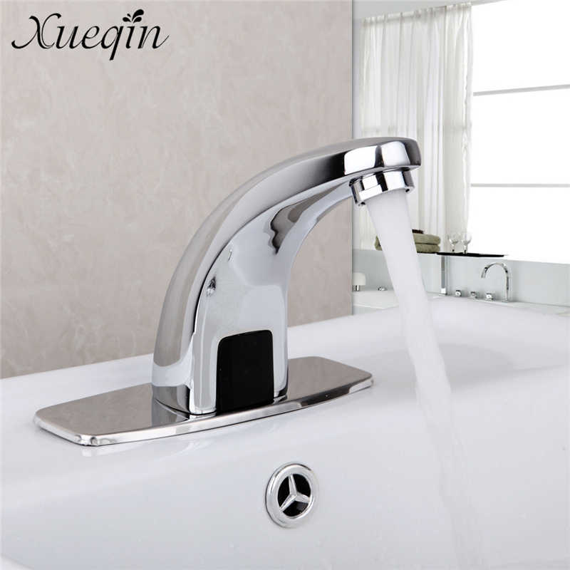 Xueqin Automatic Inflared Sensor Single Cold Faucet for bathroom Sink Copper water Saving Inductive Water Tap Mixer Deck mount copper infrared intelligent automatic induction type single tap faucet wash