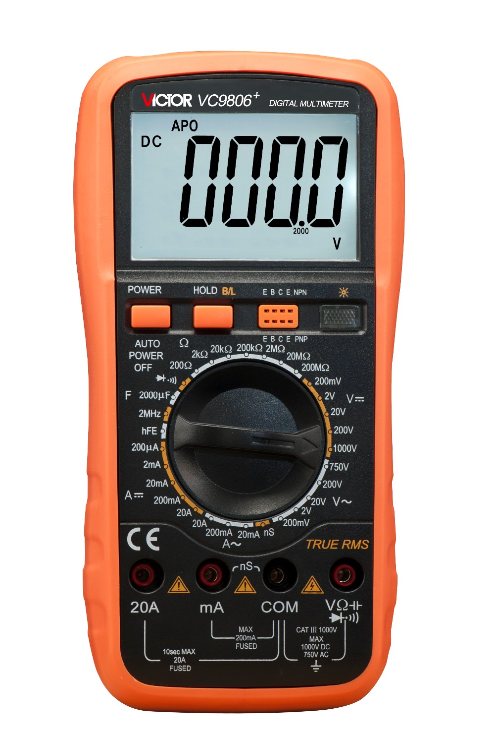 VC9807A+ Digital Multimeter multimetro AC DC Ammeter Voltmeter Ohmmeter conductivity Capacitance Frequency tester f47n multimeter pointer mechanical capacitance meter ammeter voltmeter pocket