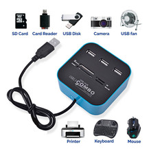 USB Hub 2.0 3 Ports Card Reader High Speed USB Splitter All In One USB 2.0 Hub Support Windows SD MMC Card TF Card M2 Card siyoteam sy m83 high speed usb 2 0 m2 tf card reader blue white