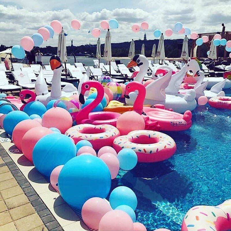 Inflatable Adult Giant Pool Float Swimming Ring Summer Tube Raft Water Fun Pool Toys Flamingo Duck Unicorn Swimming Float