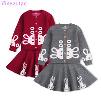 Kids Girls Knitted Skirt Set Sweater Skirt Suit Toddler Costume Girl Coats Baby Girl Sweater Cardigan Cartoon Rabbit