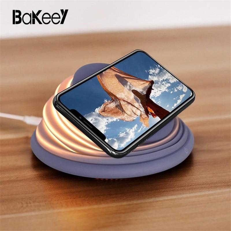Bakeey HA CONDOTTO LA Luce Qi Caricabatterie Senza Fili per Samsung S8 S9 Nota 8 per iPhoneX 8 più Mood Lampeggiante Senza Fili di Ricarica stazione di
