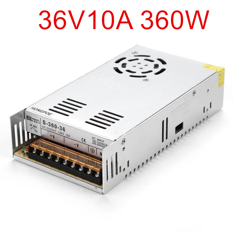 36PCS Best quality 36V 10A 360W Switching Power Supply Driver for LED Strip AC 100-240V Input to DC 36V10A best quality 36v 11a 400w switching power supply driver for cctv camera led strip ac 100 240v input to dc 36v