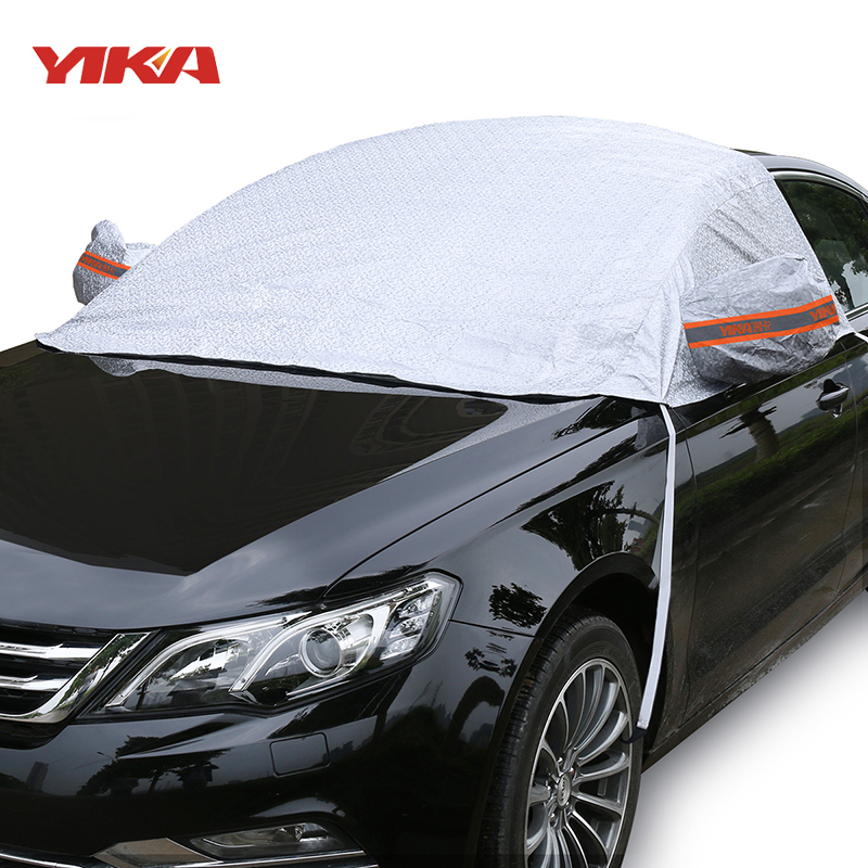 YIKA Universal Car Half Covers Sunshade Styling Foil Waterproof Thicken Car Snow Shield Anti UV Snow Protection Covers For Cars