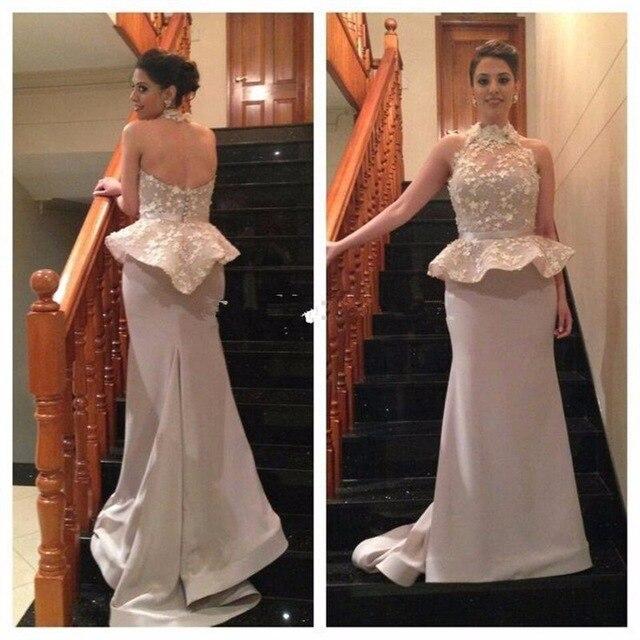 55de33f9e6 Unique Halter Lace Peplum Evening Dress Long PromDresses for Women ...