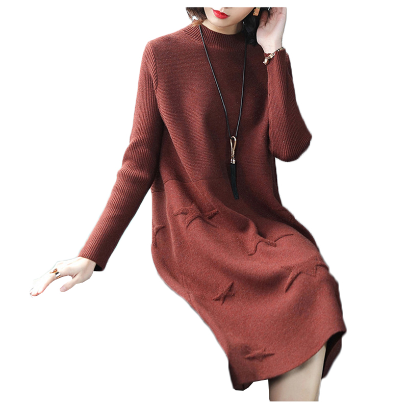 Sweater dress female 2018 spring autumn womens base sweater dress and pullover fashion loose was thin women wool knit dresses