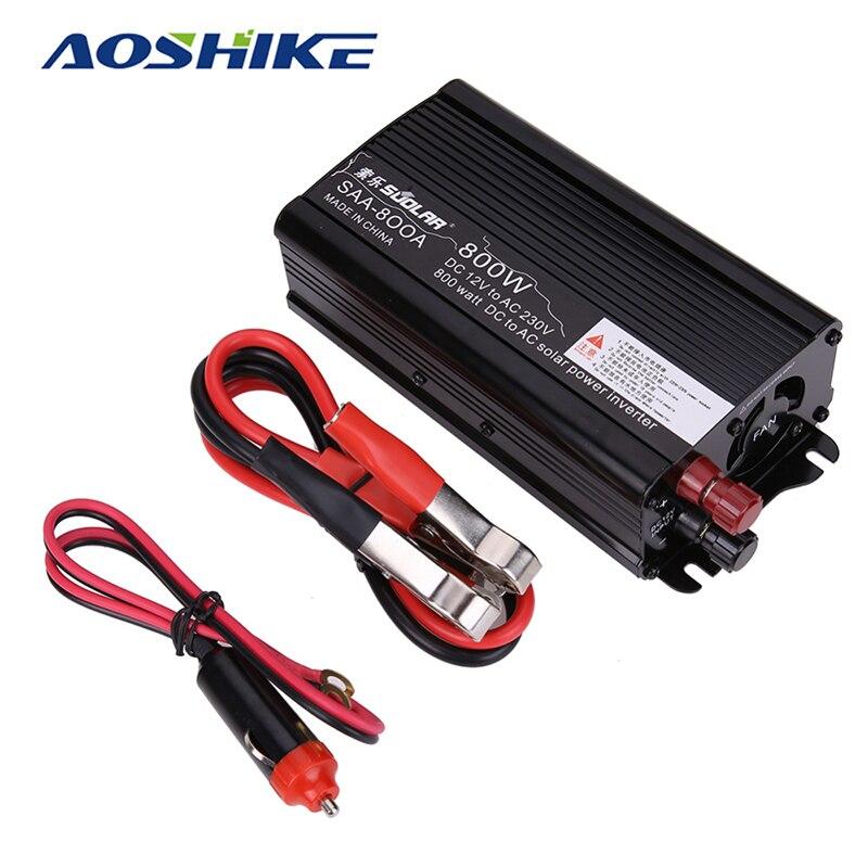 Aoshike 800 Вт Солнечный Мощность автомобиля Инвертор 12 В постоянного тока до 110 В AC Модифицированная синусоида преобразователь