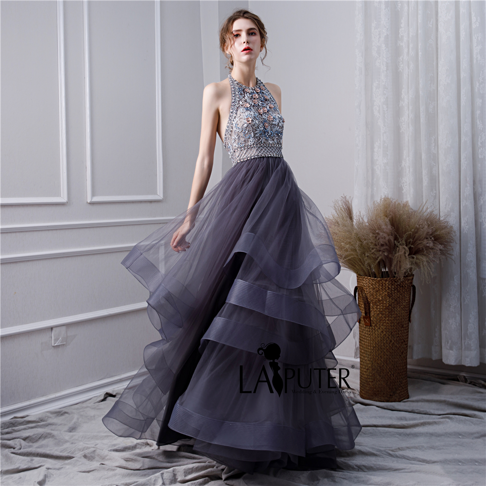 9deb1708bc US $189.0 |LAIPUTER 2019 New Formal Women Elegant A line Halter Heavy  Beading and Flowers Layered Backless Dark Navy Evening Prom Dress-in  Evening ...