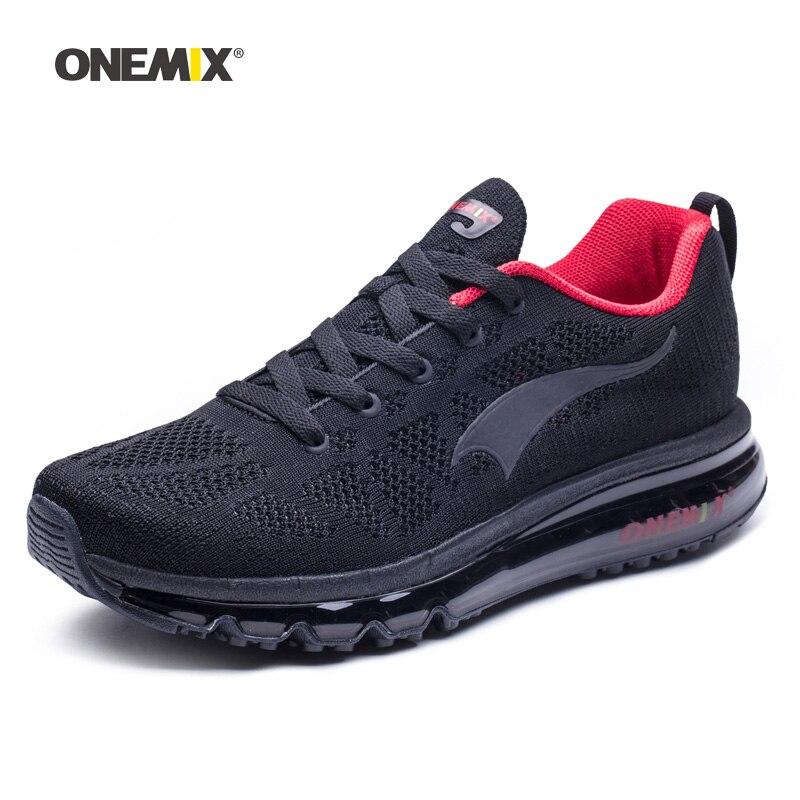 ONEMIX Homme Chaussures de Course Pour Les Hommes de Nice Zapatillas Athletic Trainers Noir Rouge Sport Coussin D'air de Jogging En Plein Air de Marche Sneakers - 4