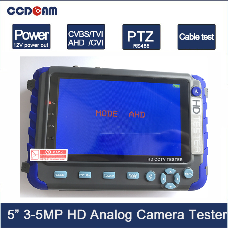 5MP 4 IN 1 AHD TVI CVI CVBS Camera CCTV Tester 5 Inch LCD Monitor Built-in 18650 Battery Security Camera Tester Audio RS485 Test
