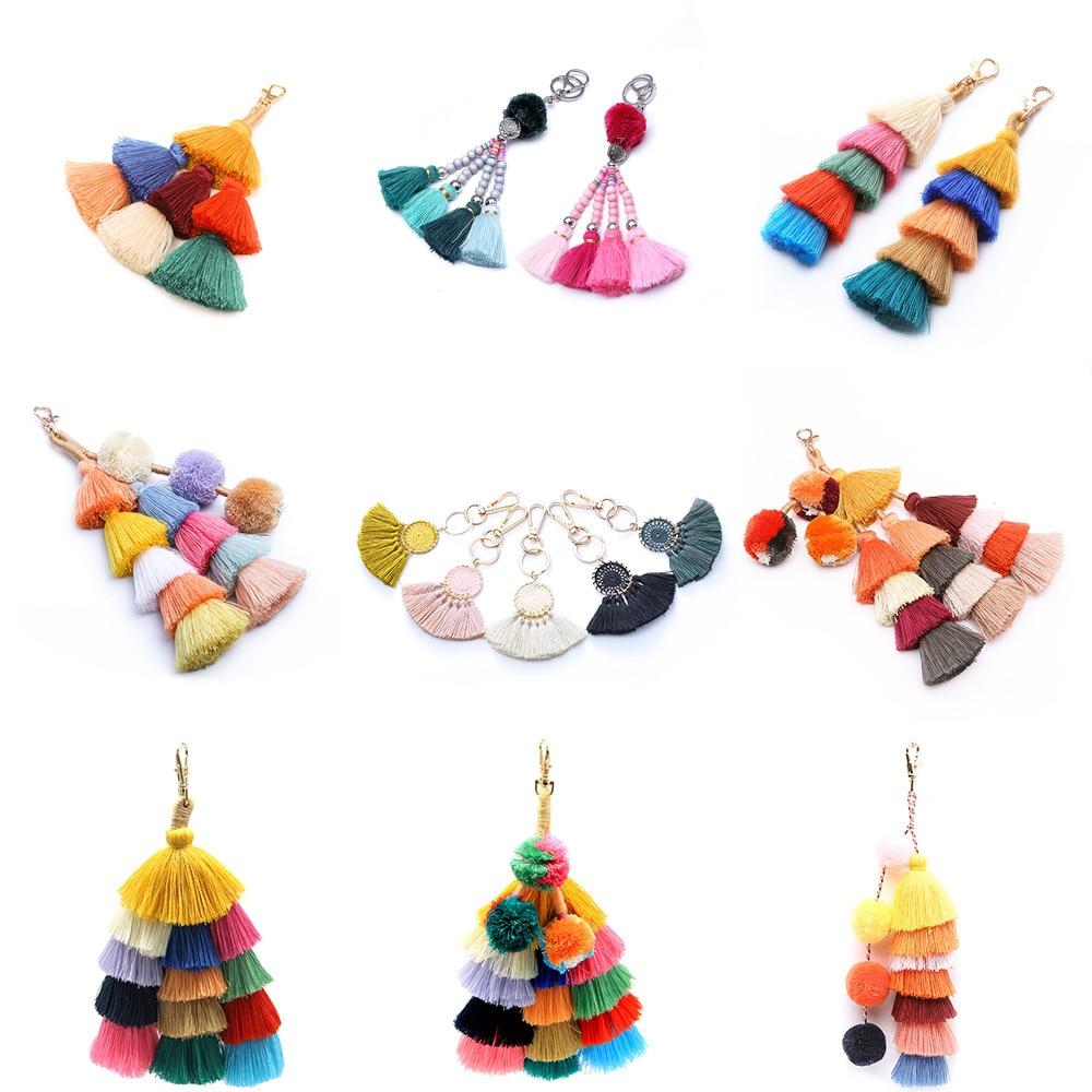Colorful Pom Pom Tassels Boho Bag Accessories Ornament Beach Straw Bag Handbag Wallet Purse Key Chain 2018 Summer Fashion