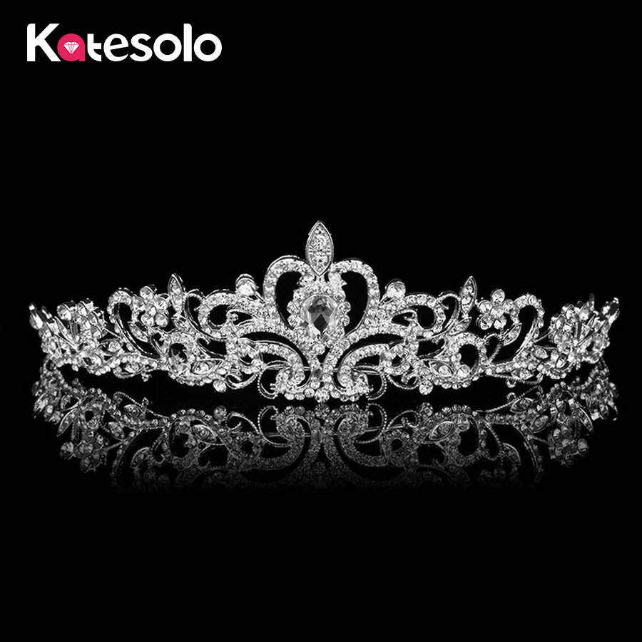 Luxury Bridal Girls Flower Tiara Hair Accessories Silver Plated Wedding Jewelry Crystal Rhinestone Crown Headband For Women
