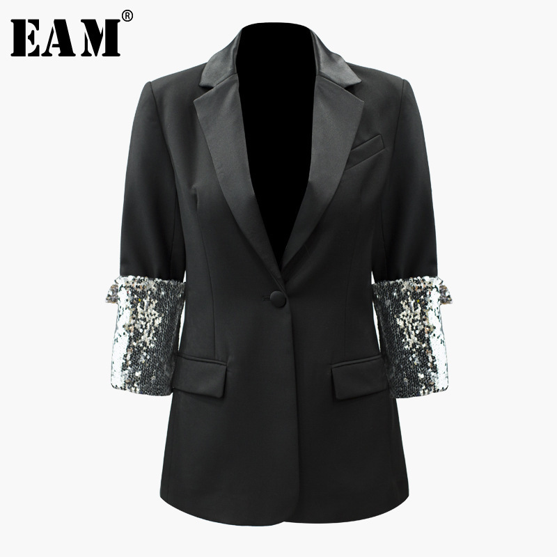 eam Veste Beau Lâche 2019 quarts Black Manteau Marée Printemps Ji474 Mode Paillettes Retour Nouveau De Trois Femmes Revers Manches custom Couture qpxqSOw4