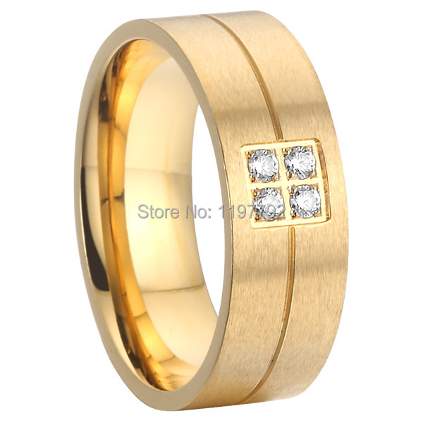 2015 beautiful fine jewelry gold colour pure titanium steel cz stone wedding band promise ring for men and women anel