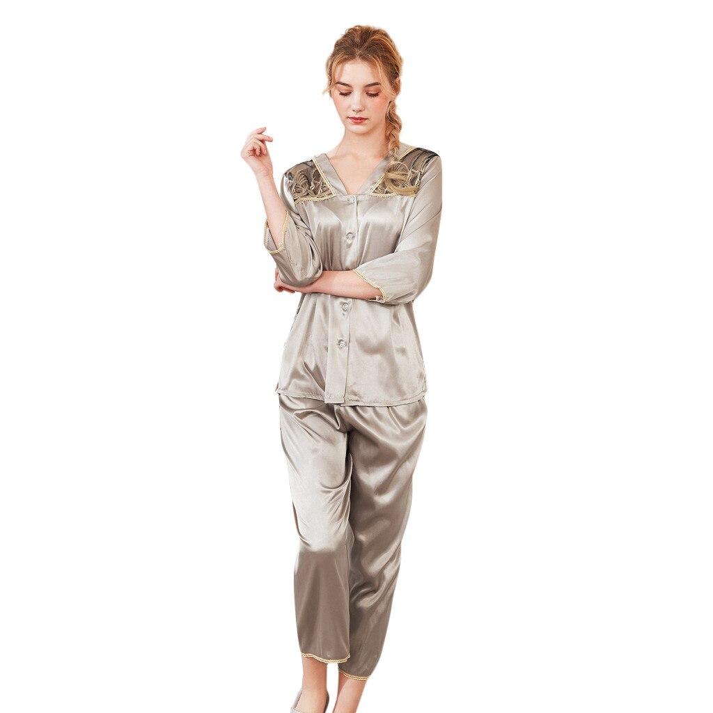 Spring summernew Emulation Silk   Pajamas   Sweet Girls Summer Sleepwear Fashion Women Trim sexy Women   Pajamas     Set   Retro Sleepwear