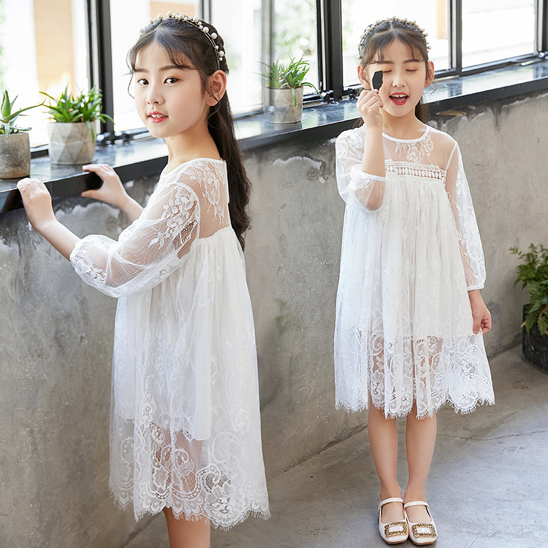 Girls Lace Dress Summer Princess Party Embroidery White Dress for Little Girl Size 4 5 6 7 8 9 10 11 12 14 years Girls Clothing girl