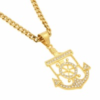 Popular Arrival Gold Color Plated Anchor Rudder Pendant Necklace Stainless Steel Vintage Charm Pendant Ice Out Simulated Diamon
