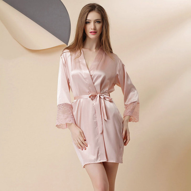 87ac3f62f0 Sexy Large Size Sexy Satin Night Robe Lace Bathrobe Perfect Wedding Bride Bridesmaid  Robes Dressing Gown For Women Hot Sale