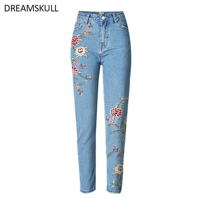 d9ecc3a65e1f61 2017 High Quality Fashion 100% Cotten Jeans With Embroidery Ripped Jeans  For Women Trousers Denim Women s Jeans Femme Mom Jeans