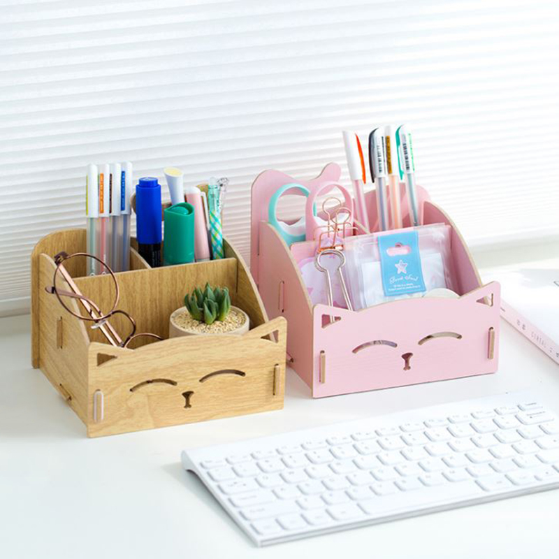 1 Pc Kawaii Cat Pen Holders Multifunctional Wooden Cosmetic Storage Box Memo Box Office Organizer School Supplies