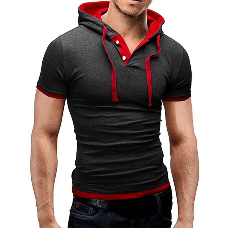 NIBESSER T shirt Men Clothing Camisas Fashion Patchwork Hooded Slim Tee Shirts Male Casual Short Sleeve T-shirt Plus Size 5XL
