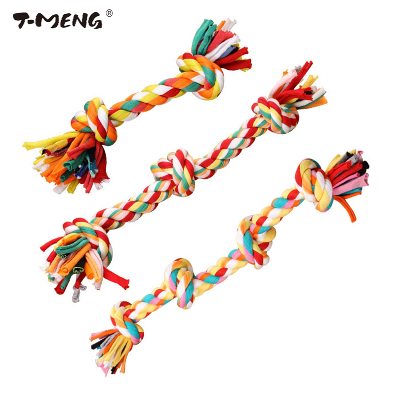 T-MENG Hot Sale Pet Toys For Dog Funny Chew Knot Colorful Cotton Rope Puppy Dog Toy Pets Dogs Pet Supplies For Small Dogs
