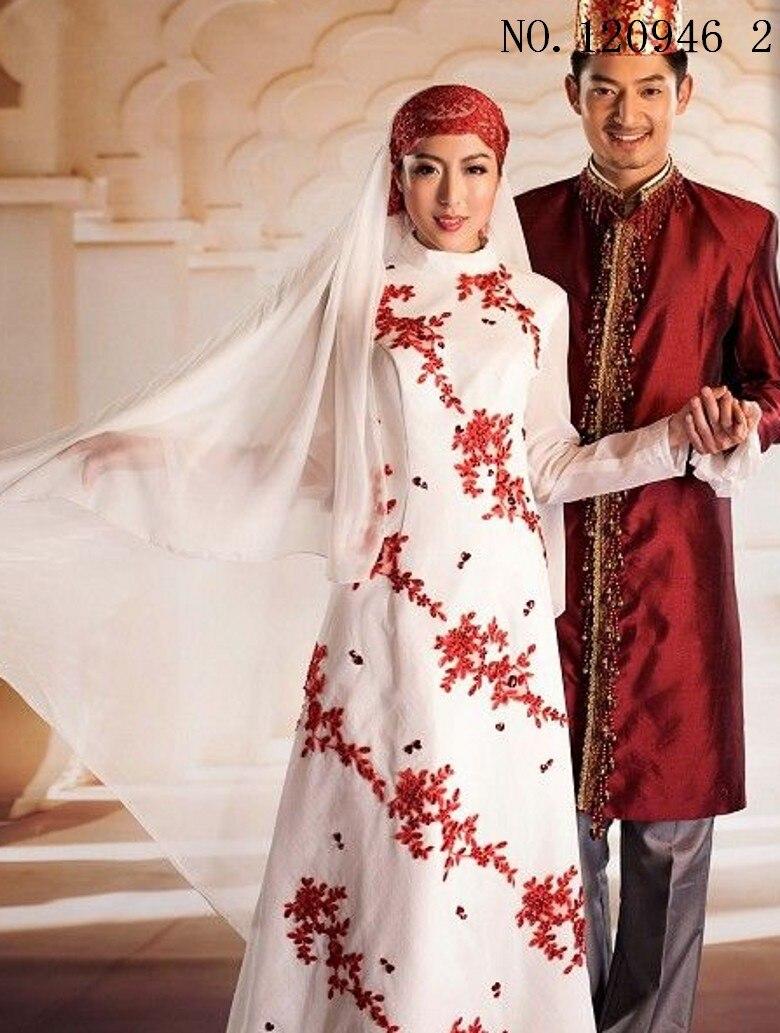 islamischen frauen kleid weiß rot blau männer abaya muslimische hochzeit  abendkleid kleidung