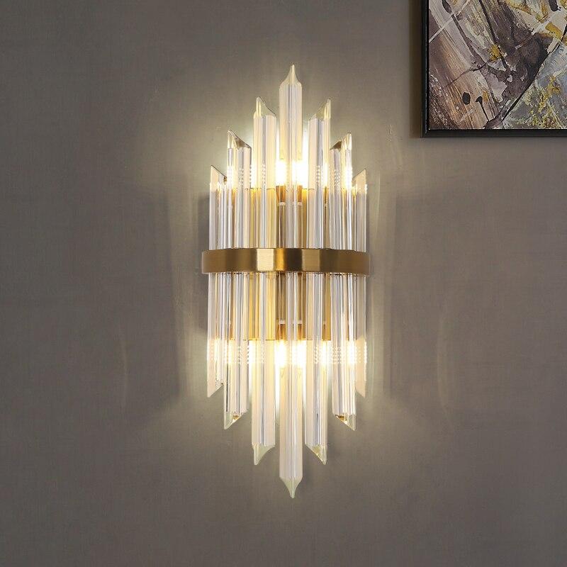 Candelabro de cristal moderno nórdico Simple lámpara de cabecera pasillo Lamparas de pared de lujo-in Lámparas LED de pared de interior from Luces e iluminación