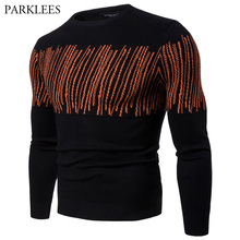 PARKLEES Men's Pullover Line Print Basic Designed Cable Knitted Sweaters Causal Slim