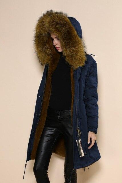 Manteau femme bleu marine col fourrure