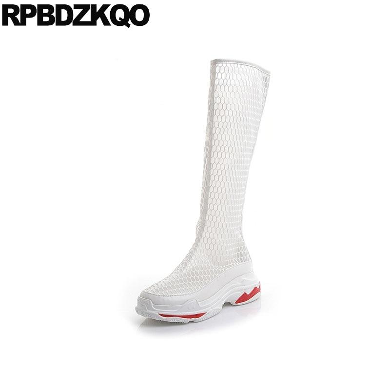 harajuku platform sandals muffin mesh cut out flatform wedge summer white designer shoes women luxury 2018 boots knee high long цена