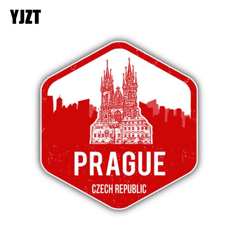 YJZT 10.2CM*10.9CM Car Sticker Prague City Czech Republic PVC Decal Stickers 6-1351