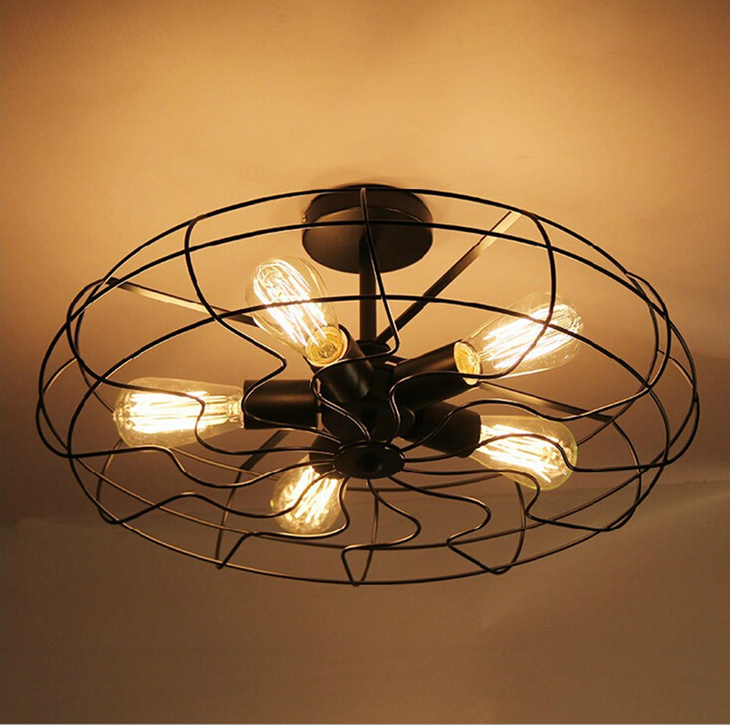 Vintage Industrial Fan Ceiling Lights American Country Kitchen Loft Lamp Iron Material Install 5pcs E27 Edison Light Bulbs HM36 sinfull loft american personality ceiling lights vintage electric fan ceiling lighting e27 bulb lamp bar cafe lamps hot sale