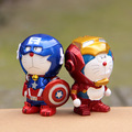 2pcs/lot Anime Cartoon Doraemon Cosplay Iron Man Captain America PVC Action Figures Collectable Toys With Box