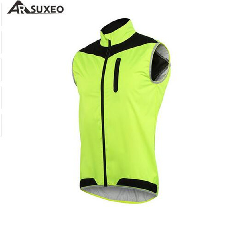 ARSUXEO Cycling Vest Windproof Waterproof MTB Bicycle Breathable Reflective Cycling Jersey Clothing Cycling Jacket Sleeveless