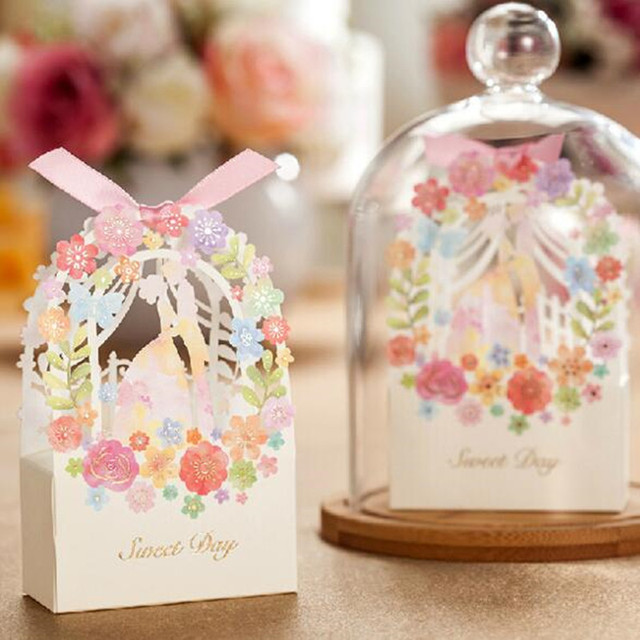 Wedding Gift Bag Elegant Luxury Decoration Flower Engagement Laser Cut Party Sweet Favors Paper